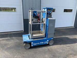 2012 Genie Gr15 Gr 15 Vertical Lift Scissor Lift Man Basket All New Batteries