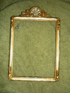 Antique Vintage Picture Frame Ornate Gesso Gold With Flowers Holds 8 X 6