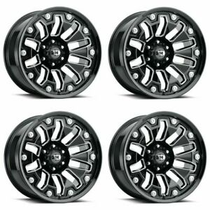 Set 4 20 Vision Armor 362 Black Milled Spoke Wheels 20x9 8x180 12mm Truck Rims