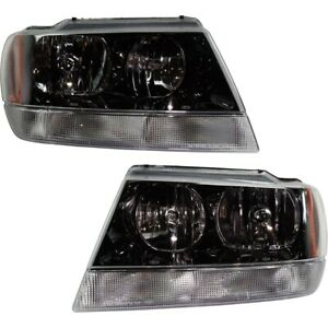 Halogen Headlights With Black Interior Set For 1999 2004 Jeep Grand Cherokee