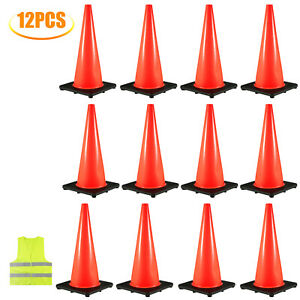 18 Traffic Safety Cones 12pcs Parking Emergency Cone Parking Lots Red Roads