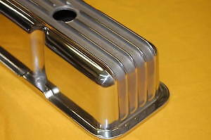 Sbc Small Block Chevy Polished Aluminum Valve Covers Tall Finned 350 383 305