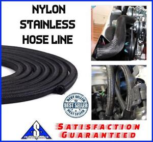 6 An Braided Black Nylon Stainless Hose Line 1 Ft 6 An 6an Fuel Oil