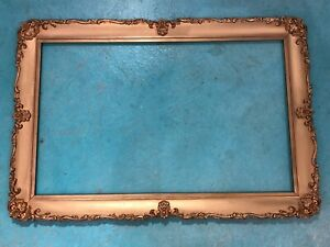 Large Antique Ornate Gesso Picture Frame 20 X 32 Gold Painted Art Frame