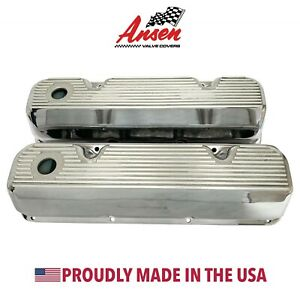 Ford 351 Cleveland Valve Covers Polished All Fins Die Cast Aluminum Ansen Usa