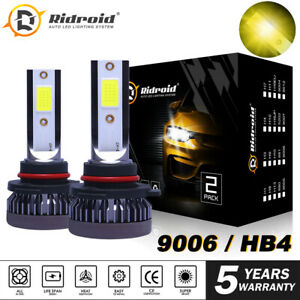 9006 Hb4 Led Hedlight Low Beam Fog Light 3000k Golden Yellow 22000lm High Power