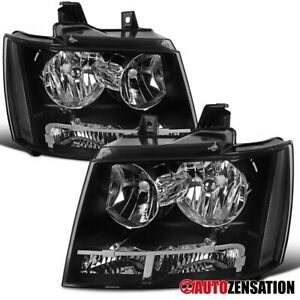 For 2007 2014 Chevy Tahoe Suburban Black Clear Headlights Parking Lamps Pair