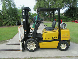 Yale Glp060 6000 Lb Forklift Propane Side Shift Lift 187 1475 Hrs Pneumatic