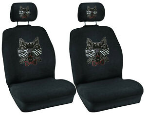 Sunglass Cat W Bow Crystal Studded Rhinestone Car Low Back Seat Covers 4pc