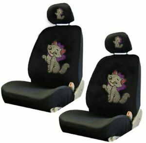 Cute Kitty W Pink Bow Crystal Studded Rhinestone Car Low Back Seat Covers 4pc