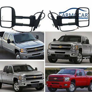 New Black Pair Mirrors Power Heated Towing Ffit For Chevy Gmc 2007 2013