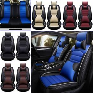 11pcs Car Seat Cover Protector Cushion Front Rear Pu Leather Interior Full Set