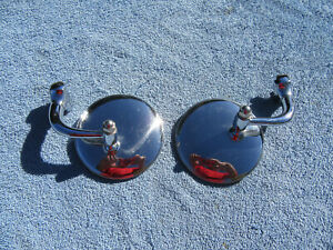Hotrod Chrome Curved Arm Peep Side Door Glass Mirror Outside Rear View Pair