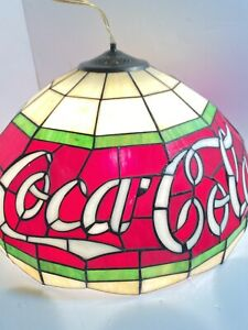 Coca-Cola Hanging Stain Glass Light Hanging Lamp Fixture Never Installed