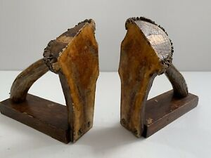Antique Adirondack Style Elk Antler Bookends From Canadian Rookies Ca 1920s