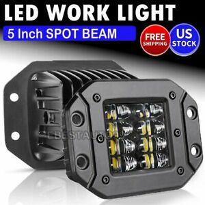 4x 4inch Led Work Light Pods 3 Rows Spot Flood Offroad Reverse Atv Driving Cube