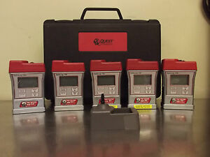 Lot Of 5 Quest Technologies Safelog 100 Personal Gas Monitor With Case M785y