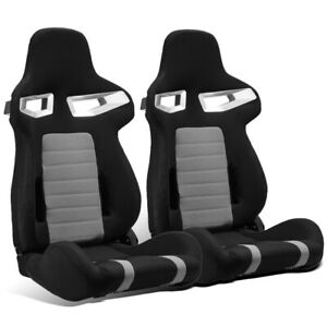 2 X Universal Black Grey Pineapple Cloth Left Right Racing Bucket Seats Sliders