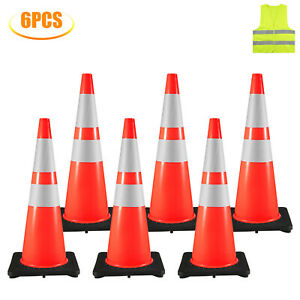 36 Traffic Safety Cones Parking Cones 6pcs 14 x14 Reflective Collars Overlap