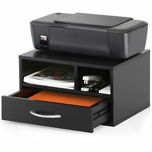 Wood Printer Stand With Drawer workspace Desk Organizer For Home