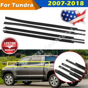 4pcs Window Moulding Weatherstrip Seal Belt For 2007 17 18 Toyota Tundra Crewmax