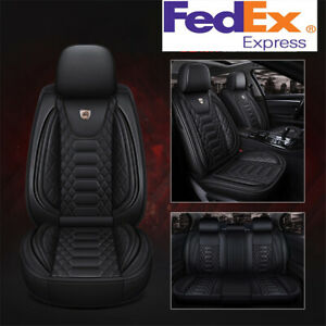 5 Seats Car Seat Covers Full Set Premium Interior Black Pu Leather Universal Usa