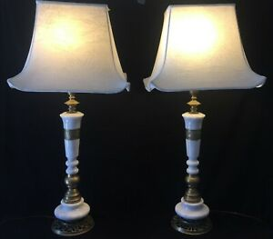 Stunning Pair Of Asian Hollywood Regency Marble And Brass Table Lamps Mcm