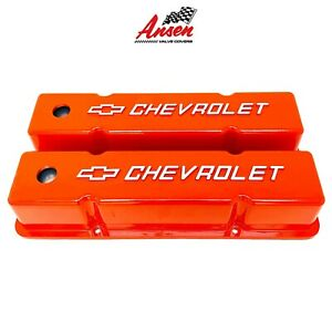 Small Block Chevy Tall Valve Covers Chevrolet Bowtie Logo Orange
