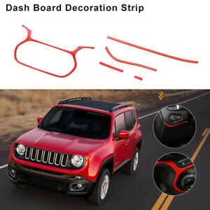 5x Red Car Instrument Panel Decor Cover Trim For Jeep Renegade 15 18 Accessories