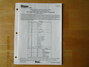 Meyer Snow Plow Parts Installation Instructions Mounting 1987 1991 Ford