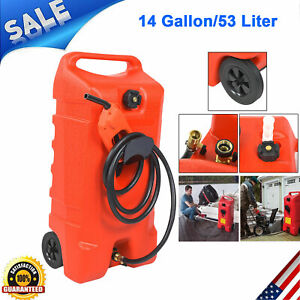 14 Gallon 53l Fuel Caddy Gas Can Tank Container With Fluid Transfer Pump New