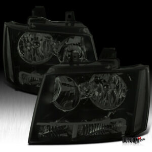 For Chevy 2007 2014 Avalanche Tahoe Suburban Black Smoke Headlights Head Lamps