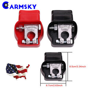 2pcs Universal P N Battery Terminal Top 4 Post Kit With R B Covers Us