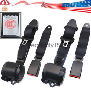 2 Universal 3 Point Retractable Seat Belts Fits For Jeep Cj Yj Wrangler 1982 95