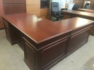 6 x7 Executive L shape Desk By Kimball Office Furniture In Mahogany Finish Wood