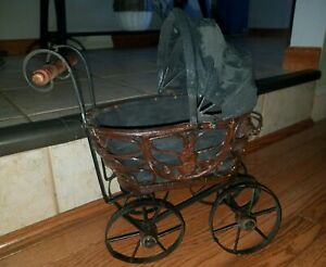 Antique Baby Doll Stroller Vintage Wooden Carriage Buggy Small Doll Buggy