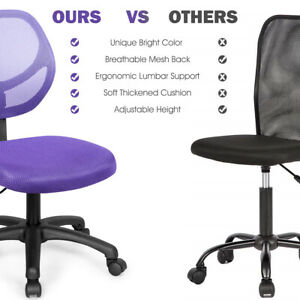 Mesh Office Chair Low back Armless Computer Desk Chair Adjustable Home Purple