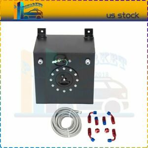 5 Gallon Black Aluminum Fuel Cell Gas Tank cap level Sender steel Fuel Line Kit