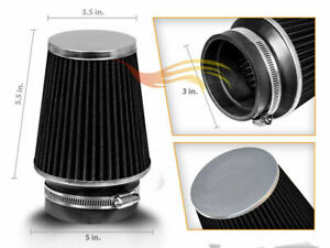 Black 3 76mm Inlet Narrow Air Intake Cone Replacement Quality Dry Air Filter