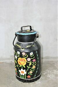 Vintage Large Milk Churn Handpainted Flowers Antique Milk Can Milk Container
