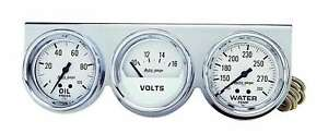 Auto Meter 2329 Gauge Console 2 5 8 Water Temp Oil Pressure Voltage White Chrome