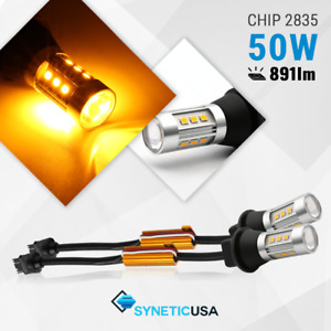 Syneticusa 3157 4157k Led Amber Yellow Turn Signal Parking Plug Play Light Bulbs