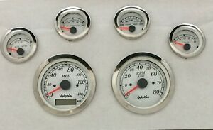 6 Gauge White Gps Speedometer Gauge Set Street Rod Hot Rod Universal