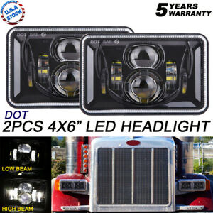 2pcs 4x6 Led Headlights Dot Approved With High Low Beam H4651 H4652 H4656 H4666