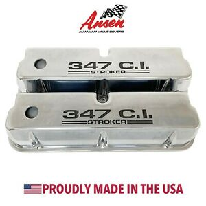 Ford 347 C i Stroker Tall Valve Covers Polished Die cast Aluminum Ansen Usa