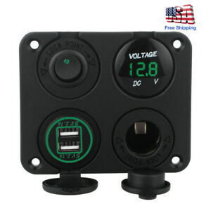12v Green Led Voltmeter Dual Usb Car Boat Charger Switch Panel Cigarette Lighter