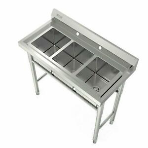 Heavy Duty 3 compartment Stainless Steel Utility Sink 39 Wide Large Capacity