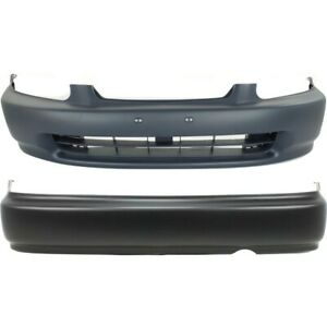 Pair Set Of 2 Bumper Covers Front Rear Ho1100178 04715s01a00zz Coupe Sedan