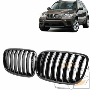 For 2007 13 Bmw E70 X5 E71 X6 Gloss Black 7 Slat Front Hood Kidney Grille Grill