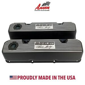 Ansen Ford 351 Cleveland Carroll Shelby Signature Logo Black Valve Covers